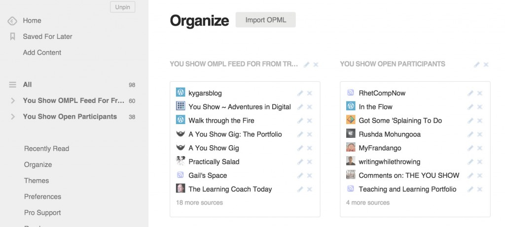Import OPML files to mass subscribe to blog feeds
