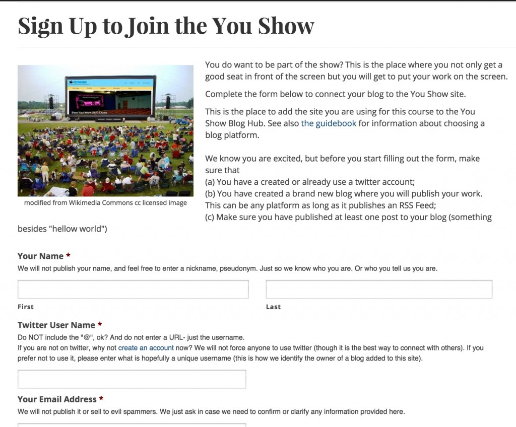 youshow signup